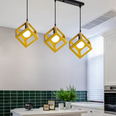 Metal Cube Shade Hanging Lamp 3 Heads Antique Stylish Pendant Light in Blue/Green/Red/Yellow for Balcony