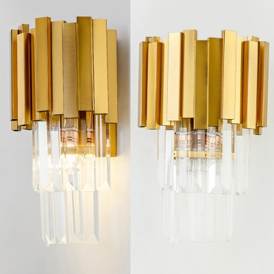 Metal Flute Wall Light with Clear Crystal Bedroom Villa 1 Light Modern Style Wall Lamp in Gold