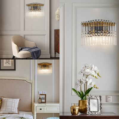 Rectangle Shape Sconce Light Modern Stylish Clear Crystal Wall Lamp in Chrome for Bedroom Bathroom