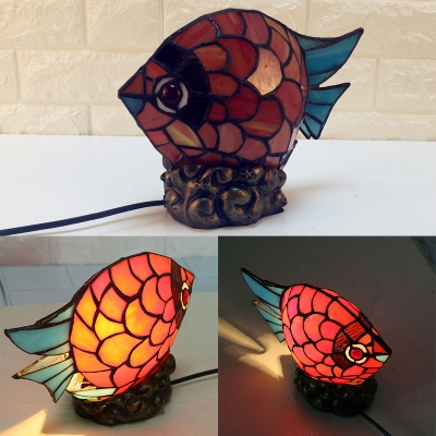 Red Fish Shaped Table Light with Plug-In Cord Lovely Stained Glass Table Lamp for Child Bedroom