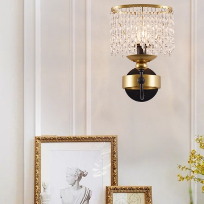 Traditional Candle Wall Light Metal One Light Gold Sconce Light with Crystal Bead for Dining Room