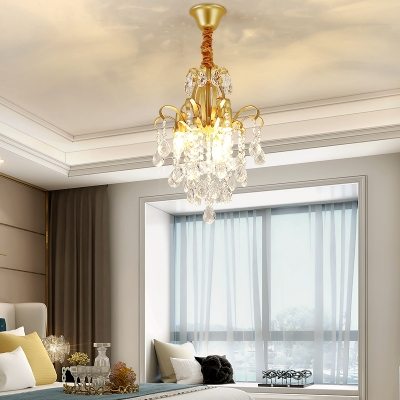 Gold Downlight Hanging Lamp 3/7 Lights Elegant Style Metal Chandelier for Cafe Dining Room