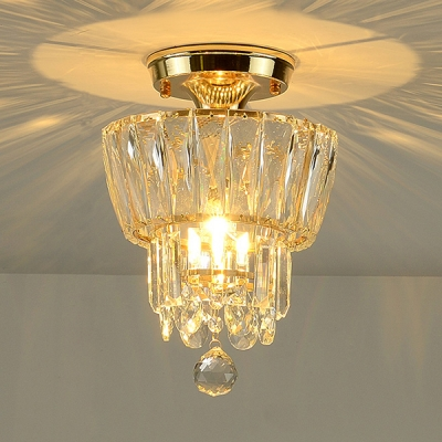 Bedroom Clear Crystal Suspension Light Metal 1 Light Modern Elegant Gold Mini Chandelier