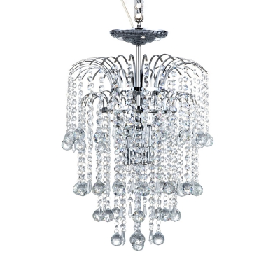 Luxurious Crystal Bead Chandelier Three Lights Metal Hanging Light in Chrome for Cloth Shop