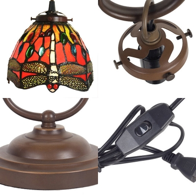Multi-Color Dragonfly/Rose Desk Light One Bulb Rustic Tiffany Glass Table Light for Office