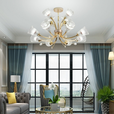 12 Heads Blossom Chandelier with Crystal Leaf Luxurious Ribbed Glass Hanging Light in Gold for Living Room