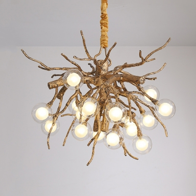 16 Lights Root Chandelier with Orb Contemporary Resin Hanging Light in Bronze for Restaurant
