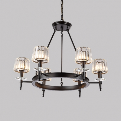 American Rustic Black Chandelier with Clear Crystal Shade 6/8 Heads Metal Hanging Light for Restaurant