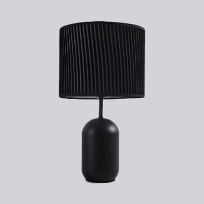Black/White Drum Shade Table Light Modern Simple Fabric 1 Light Desk Lamp with Metal Base