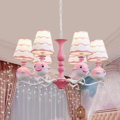 Cartoon Fish Hanging Light Metal Six Lights Blue/Pink Chandelier for