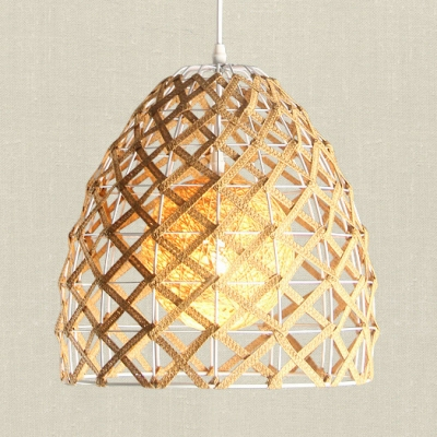 Dome/Globe/House Villa Pendant Light Rattan 1 Light Rustic Stylish Hanging Light in Beige
