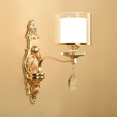 Le Style élégant d'Or de la Lampe de Mur Crylinder Ombre 1 Lumière en Métal Applique Murale en Cristal pour la salle de Bain d'Hôtel