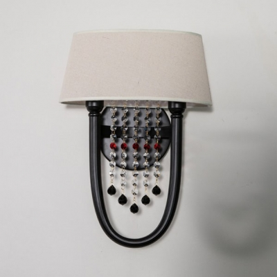 Fabric Trapezoid Shade Wall Light 2 Lights Retro Loft Wall Lamp with Crystal Bead in Black for Lodge