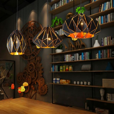 Geometric Shade Hanging Light Modern Style Metal 1 Bulb Suspension Lamp in Black