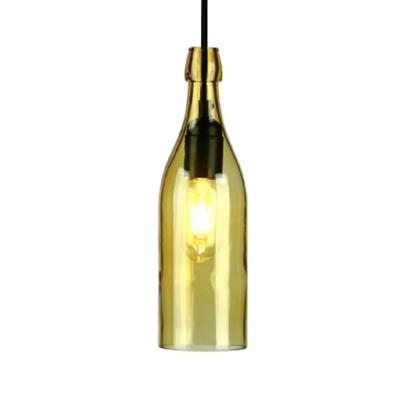 1 Light Wine Bottle Hanging Light Vintage Glass Pendant Light in Blue/Purple/Red/Yellow for Restaurant