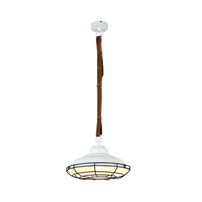 Industrial Double Bubble Pendant Light with Leather Cord 1 Bulb Metal Hanging Light in Black/White for Bedroom