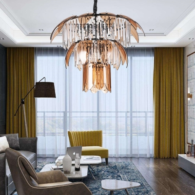 Luxurious Gold/Matte Black Chandelier Glittering Clear Crystal Hanging Light for Restaurant Villa
