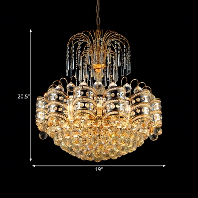 Luxurious Style Hanging Light Clear Striking Crystal Metal Chandelier in Gold for Hotel Villa