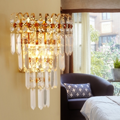Modern Gold Small Wall Light 2 Heads Modern Stylish Clear Crystal Sconce Lamp for Corridor