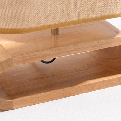 Modern Simple Oblong Shade Table Light Fabric 1 Head Night Light with Wooden Base