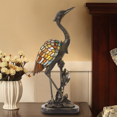 Office Crane Bird Table Light Stained Glass&Resin 1 Light Tiffany Vivid Brass Night Light