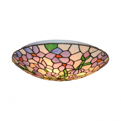 Stained Glass Bowl Flush Mount Light Tiffany Rustic Ceiling Lamp for Stair Living Room