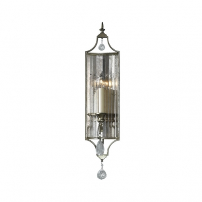 Vintage Style Candle Wall Lamp with Clear Crystal 1/3 Heads Iron Sconce Light in Aged Steel for Cafe