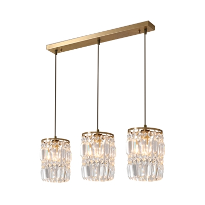Antique Drum Hanging Light 1/3 Heads Clear Crystal Pendant Light in Gold for Living Room