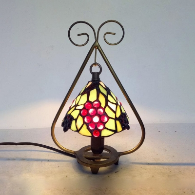 Tiffany Rustic Desk Light with Bead/Dragonfly/Flower/Grape One Light Stained Glass Desk Lamp for Bedroom