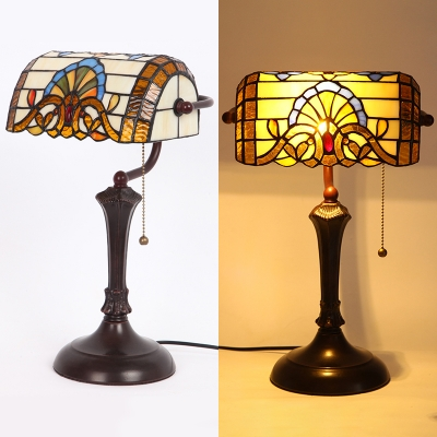 Antique Victorian Beige Banker Lamp with Pull Chain 1 Light Stained Glass Table Light for Office