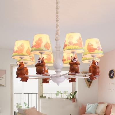 Bear Kids Bedroom Hanging Light Resin 3/5/6/8 Lights Animal Chandelier