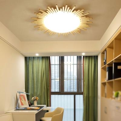 Beige Sun LED Ceiling Light Nordic Style Wood Flush Mount Light with Warm/White Lighting for Corridor