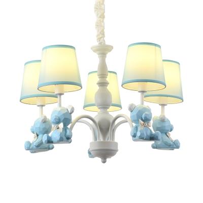 Bow Bear Metal Hanging Light 5 Lights Lovely Chandelier Light in Blue for Boys Girls Bedroom