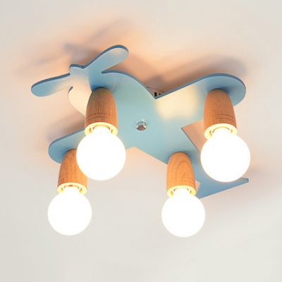 Cartoon Blue/Yellow Ceiling Mount Light Airplane 4 Lights Wood Ceiling Lamp for Kindergarten