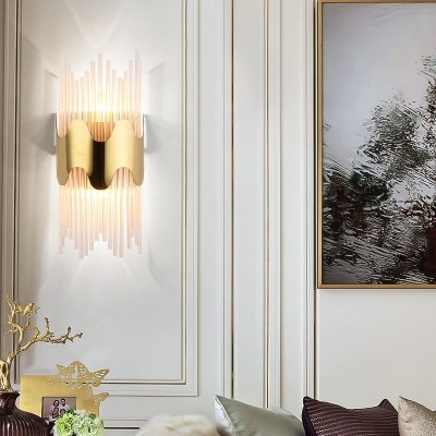 Clear Crystal Cylinder Wall Light Contemporary LED Sconce Light in Gold for Bedroom Balcony