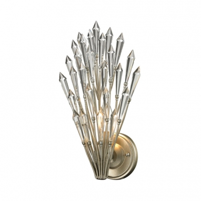 Clear Crystal Folding Fan Wall Light Living Room 1 Light Creative Modern Sconce Light in Champagne