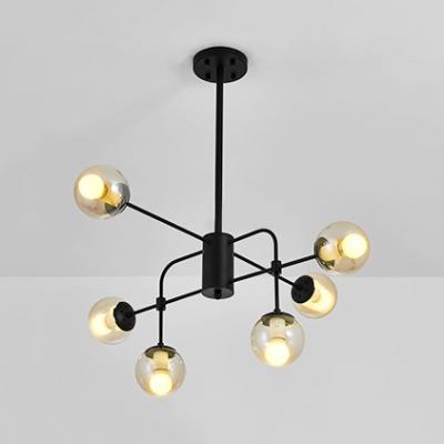 Clear Glass Orb Shade Chandelier Light Six Lights Modern Stylish Hanging Light in Black/White