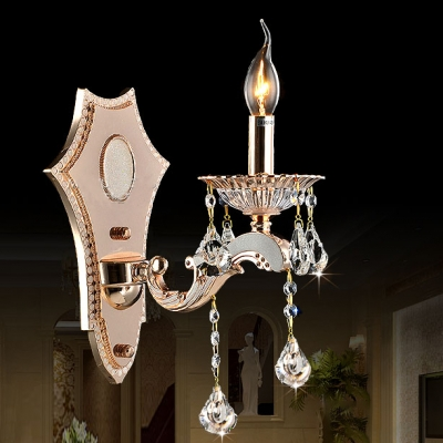 Elegant Gold Wall Lamp Candle 1/2 Lights Metal Sconce Light with Crystal Deco for Living Room