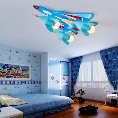 Fighter Airplane Boys Bedroom Ceiling Fixture Metal 3 Heads Coll LED Semi Flush Ceiling Light in Blue