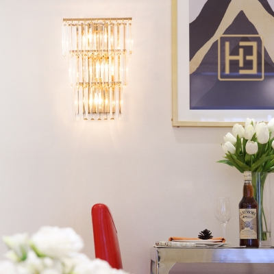Glamorous Crystal 3-Tier Wall Light 3 Lights Contemporary Sconce Light in Gold for Dinging Room