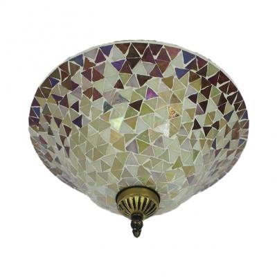 Glass Bell Shade Flush Mount Light Tiffany Mosaic Red Edge Ceiling Light for Living Room