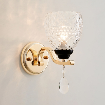 Gold/Chrome Candle Sconce Light with Clear Crystal 1 Bulb Luxurious Metal Wall Lamp for Dining Room