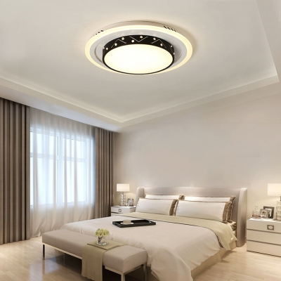Hollow Round LED Flush Mount Light Modern Style Acrylic Black/White Ceiling Lamp in Warm/White for Kitchen