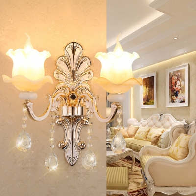 Luxurious Candle Shape Wall Lamp Metal 2 Lights Gold Sconce Light with Clear Crystal for Restaurant