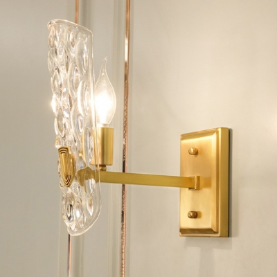 Metal Candle Wall Light with Clear Dimple Crystal 1/2 Lights Antique Style Wall Lamp in Gold