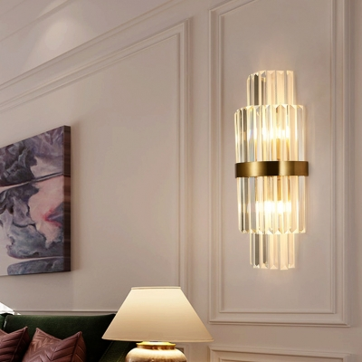 Metal Cylindrical Sconce Wall Light with Clear Crystal Shade Bedroom Modern Sconce Lamp in Brass