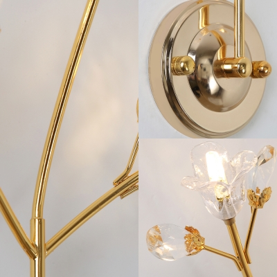 Modern Stylish Gold Wall Light Flower 3 Heads Metal Sconce Light with Striking Crystal for Bedroom