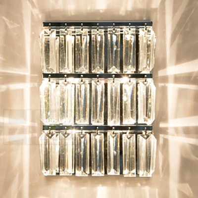 Rectangle Stair Hallway Wall Light Clear Crystal Modern Simple Wall Sconce in Chrome Finish