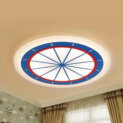 Slim Panel Circle Bedroom Flush Mount Light Acrylic Modern Warm/White Ceiling Lamp in Blue