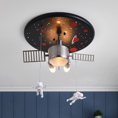 Space Ship Kid Bedroom Ceiling Light with Astronaut Metal Creative Modern Semi Flush Light in Black